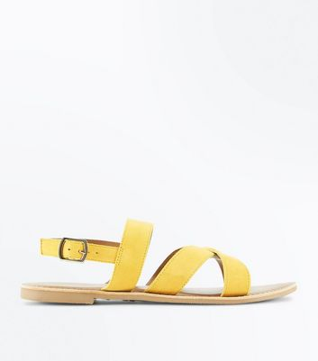 Mustard Suede Cross Strap Sandals