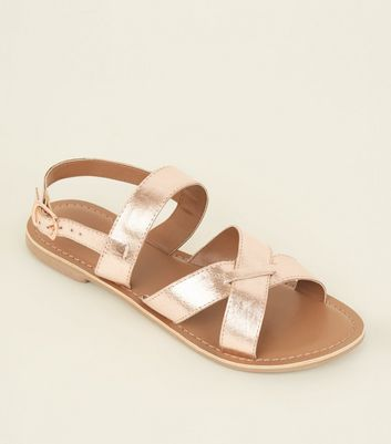 Rose Gold Leather Cross Strap Sandals