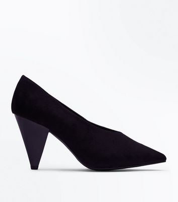 Wide Fit Black Suedette Chunky Cone Heel Courts