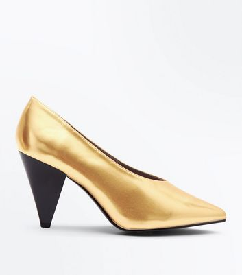 Wide Fit Gold Metallic Cone Heel Courts