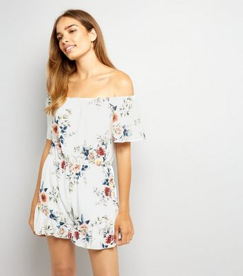 Cameo Rose White Floral Print Playsuit
