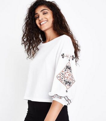 White Cross Stitch Sleeve Top