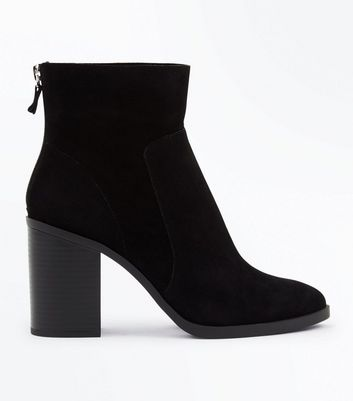 Black Suedette Zip Back Block Heel Boots