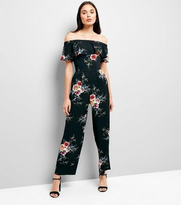 Cameo Rose Black Floral Bardot Neck Jumpsuit