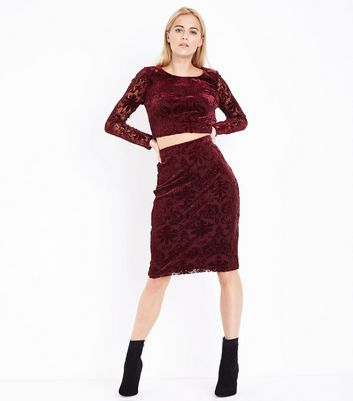 Burgundy Burnout Velvet Pencil Skirt