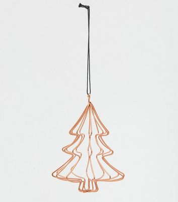 Rose Gold Wire Christmas Tree Decoration