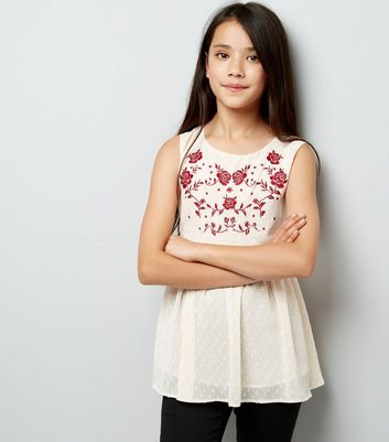 Shell Pink Embroidered Spot Texture Peplum Top