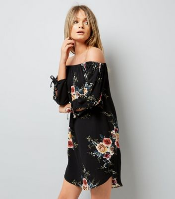 Cameo Rose Black Floral Print Bardot Neck Dress