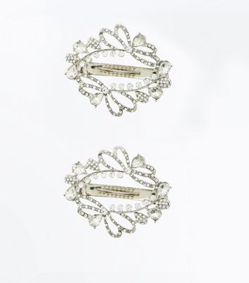 2 Silver Diamante Embellished Hair Clips