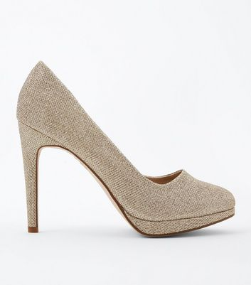 Gold Glitter Platform Court Shoes