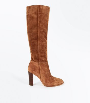Tan Premium Suede Knee High Boots