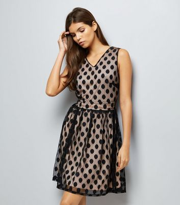Mela Black Spot Mesh Overlay Dress