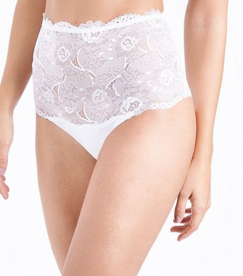White Lace High Waist Briefs