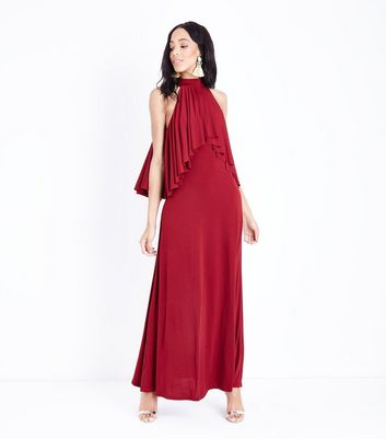 Mela Burgundy Frill Bodice Maxi Dress