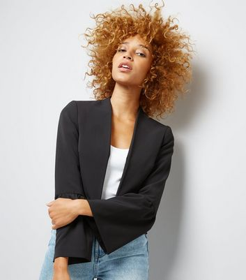 Black Frill Sleeve Trim Cropped Blazer