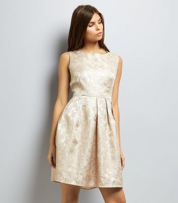 Mela Gold Floral Embossed Skater Dress