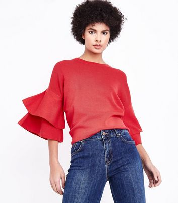 Red Tiered Sleeve Jumper