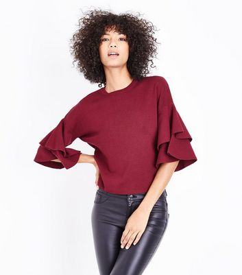 Burgundy Tiered Sleeve Jumper