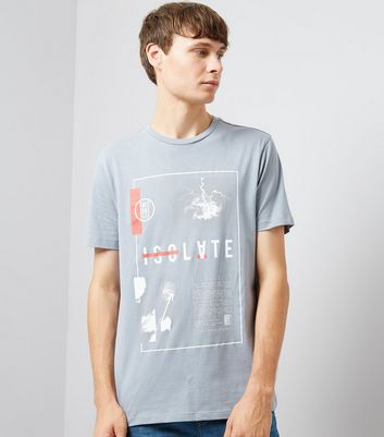 Pale Blue Isolate Distressed Print T-Shirt
