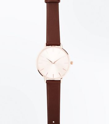 Dark Brown Strap Analogue Watch