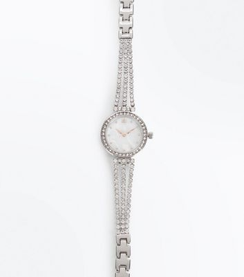 Silver Diamante Cupchain Bracelet Watch