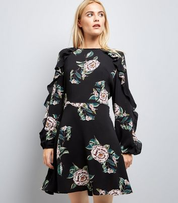 AX Paris Black Floral Print Frill Sleeve Dress
