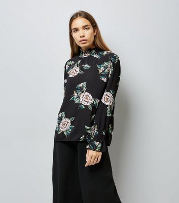 AX Paris Black Floral Print Funnel Neck Top
