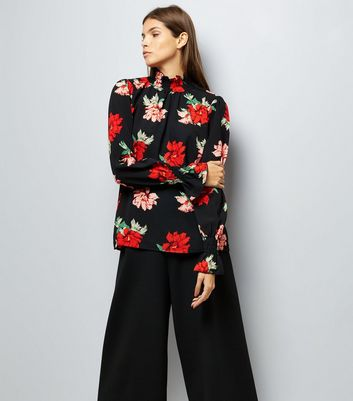 AX Paris Black Floral Long Sleeve Top
