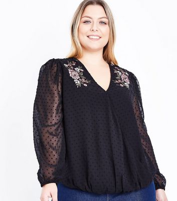 Curves Black Spot Mesh Floral Embroidered Blouse
