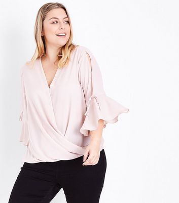 Curves Shell Pink Wrap Front Bell Sleeve Blouse
