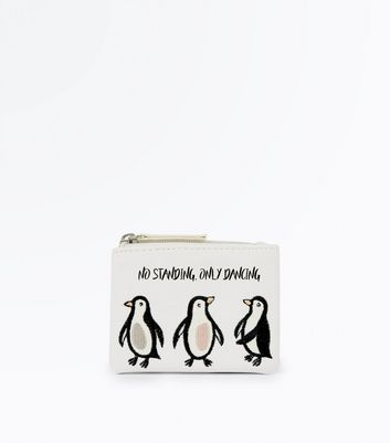 White Penguin Embroidered Purse