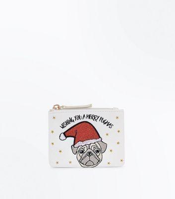 White Merry Pugmas Purse