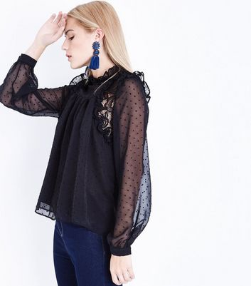 Black Spot Mesh High Neck Lace Trim Blouse