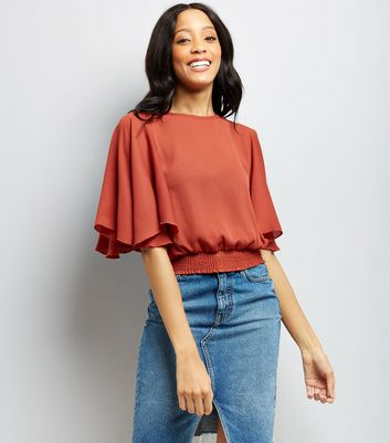 Brown Shirred Hem Flutter Sleeve Top