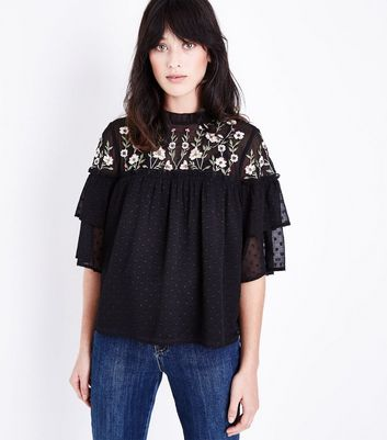 Black Floral Embroidered Spot Mesh Top