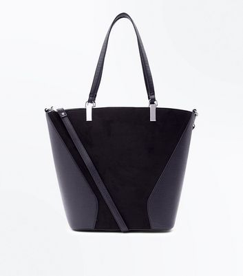 Black Contrast Panel Shopper Bag