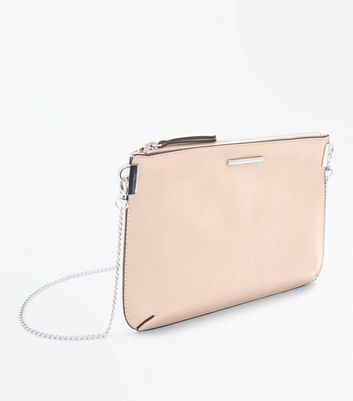 Nude Curved Flat Clutch Bag