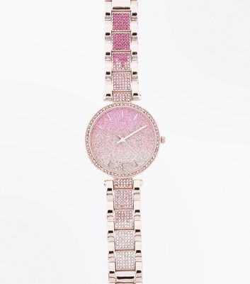 Pink Ombre Stone Embellished Sports Watch