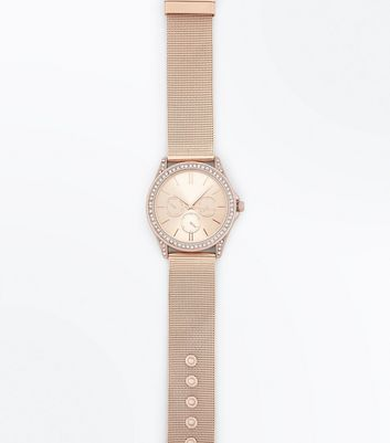 Pink Mesh Strap Diamante Embellished Watch