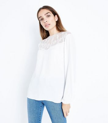 Off White Embroidered Yoke Blouse