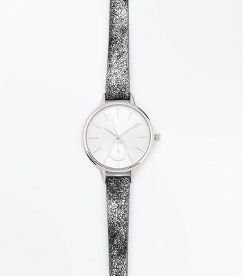 Silver Mottled Strap Watch