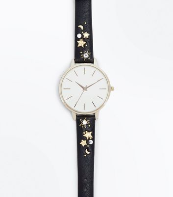 Black Star Studded Strap Watch
