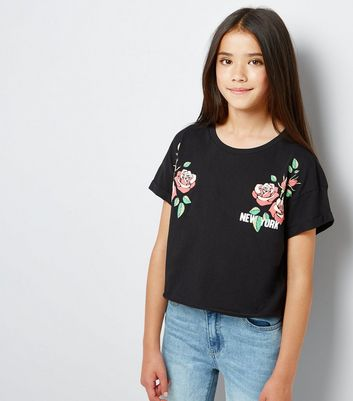 Teens Black New York Floral Puff Print T-Shirt