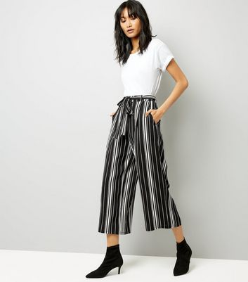 Tall Black Stripe Cropped Wide Leg Trousers