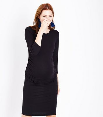 Maternity Black 3/4 Sleeve Midi Dress