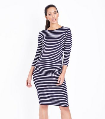 Maternity Blue Stripe Ruched Side Dress