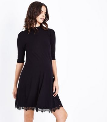 Maternity Black Lace Hem Jersey Swing Dress