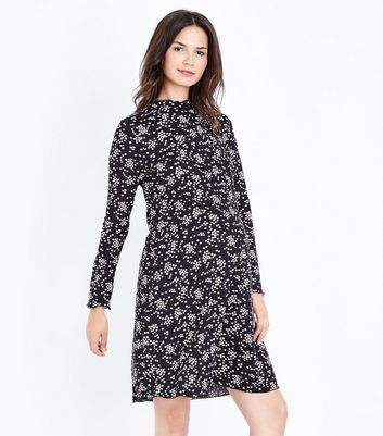 Maternity Black Floral Print Jersey Swing Dress