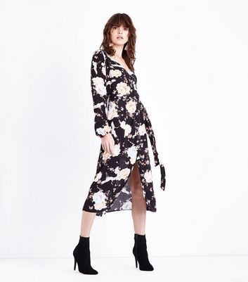 Black Floral Long Sleeve Midi Shirt Dress