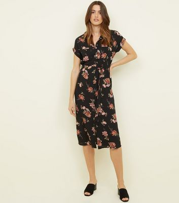 Black Floral Print Midi Shirt Dress